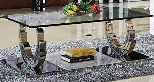 Azurit Designer Couchtisch Edelstahl Wohnzimmertisch Glastisch Glas Hochglanz Größe 130_x_70_cm