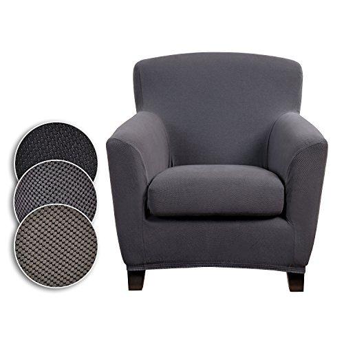 Bellboni® Couchhusse für Einsitzer Couchsessel oder Loungesessel, Sofabezug, bi-elastische Stretchhusse, Spannbezug für viele gängige Einer Sessel, anthrazit