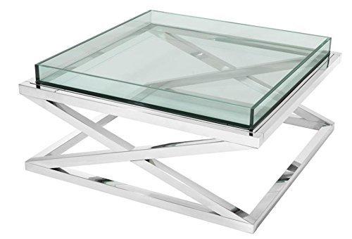 Casa Padrino Designer Couchtisch Silber 100 x 100 x H. 46,5 cm - Luxus Hotel Möbel