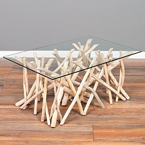 Couchtisch DRIFT-C Natural 90x60cm Teakholz & Glas Wohnzimmertisch Holztisch