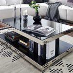 Couchtisch schwarzglas chrom echtholzfurnier Glasgow Designer Wohnzimmertisch