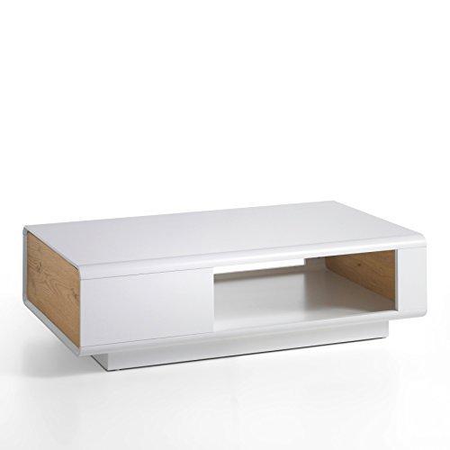 Design Couchtisch CORIN Original MCA edelmatt weiß 110 cm Asteiche mit Schublade und Rollen