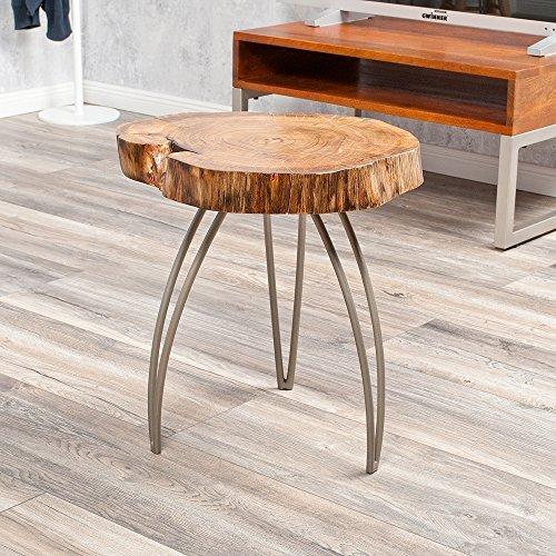 Designer Beistelltisch/Couchtisch LIVING EDGE Akazie Baumscheibe Massivholz rund