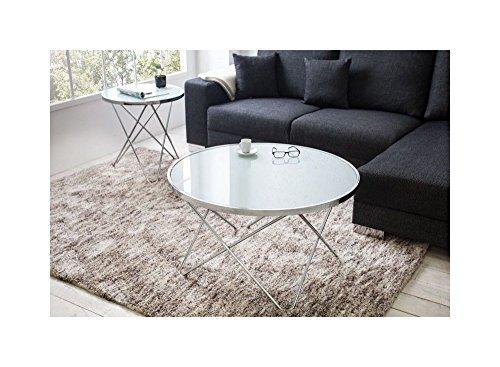 Designer Couchtisch 85 cm Rund Chrom in Silber Tisch Beistelltisch REPRO Art Deko Rund Praxis Wohnung Büro