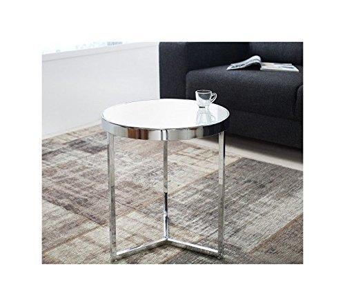Designer Couchtisch Glastisch Rund Runder Tisch Beistelltisch in Chrom Silber Milchglas RETRO Art Deko