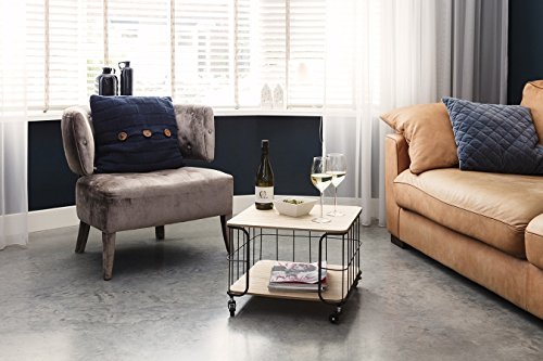 Designer Couchtisch Möbel, 2 Ablage Beistelltisch, Schwarz Metall mit Holz Tischplatte , 51 x 51 x 33 cm, dekorativer Tisch