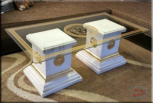 Designer Säulen Couchtisch Medusa Mäander Wohnzimmertisch Tisch Glastisch Säule