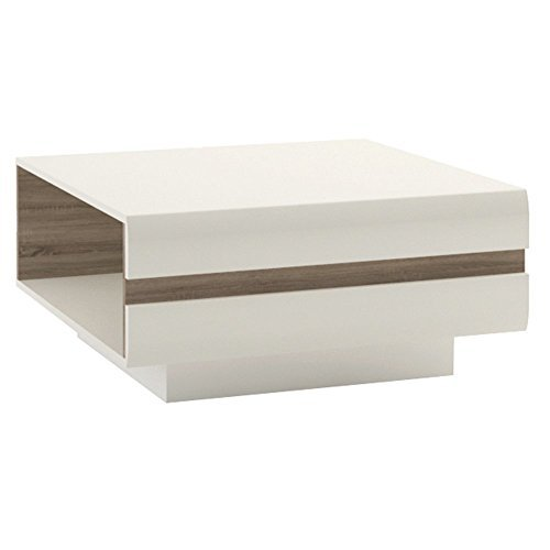 Furniture To Go Chelsea Designer-Couchtisch klein, 75x 39x 75cm, Weiß glänzend