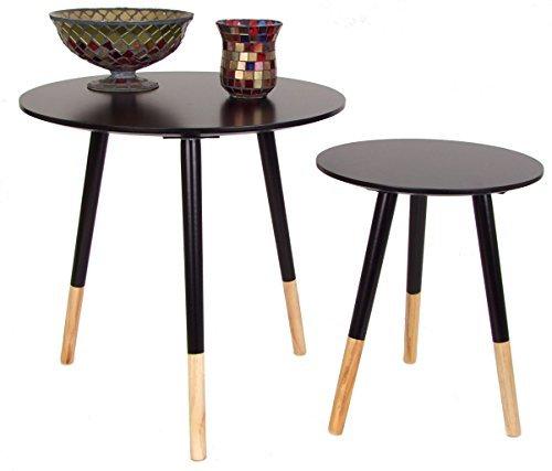 Holz Beistelltisch RETRO in 2er Set - schwarz - Couchtisch Designer Tisch Sofatisch