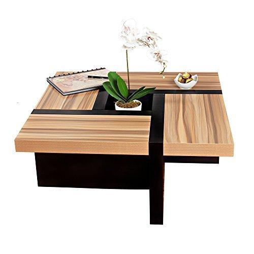 Melko® Couchtisch Wohnzimmertisch braun / schwarz, 80x80x35 cm, Beistelltisch Designertisch Holz