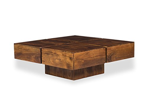 Woodkings® Couchtisch Amberley 80x80cm, Holz Akazie braun, Echtholz modern, Design, Massivholz exklusiv, Design Lounge Coffee Table günstig