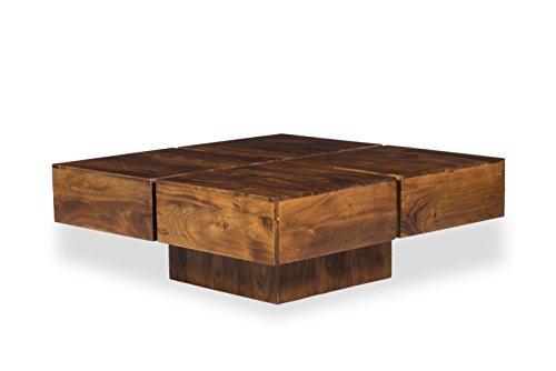 Woodkings® Couchtisch Amberley 80x80cm, Holz Akazie braun, Echtholz modern, Design, Massivholz exklusiv, Design Lounge Coffee Table günstig