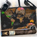 decomonkey | Weltkarte zum Rubbeln | Rubbelweltkarte | Landkarte zum Freirubbeln | Personalisierte Weltkarte | Laminiert (beschreib- & wischbar) | Meeres- & BergreLief