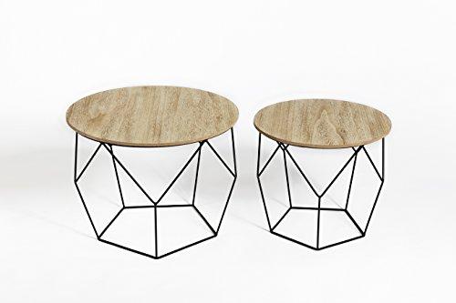 2er set Lifa Living Beistelltisch Satztisch Sofatisch Kaffeetisch Couchtisch Schwarz Tischset Metall Holz Basket geometrisch design rund Vintage Industrie