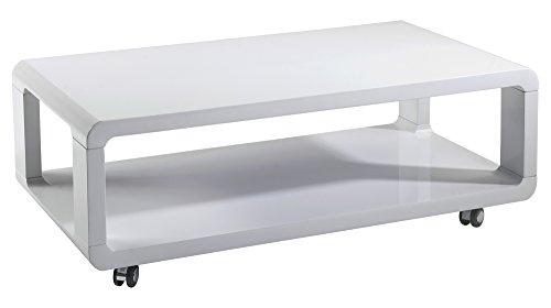CAVADORE Couchtisch LEONA / moderner, niedriger Holztisch mit Rollen und Ablage / Hochglanz Weiß / 105 x 58 x 38 cm (L x B x H)