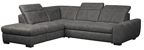 Cavadore 5129 Polsterecke Bules, Abschlusselement 1-sitzig links, Spitzecke, 3-Sitzer mit Kopfteilverstellung rechts, 274 x 81 x 232 cm, Iguana grau 06
