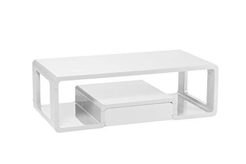Cavadore Couchtisch Loof / moderner, niedriger Holztisch mit Schublade mit push-to-open-Funktion / inkl. Ablage / Hochglanz Weiß / 120 x 60 x 40 cm (L x B x H)