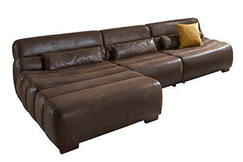 Cavadore Polsterecke Scoutano in Antiklederoptik mit Longchair links / Sofa L-Form mit XXL Longchair im Industrial Design / Größe: 268 x 76 x 170 cm (BxHxT) / Bezug in Antik Chocco / Holzfüße in antik