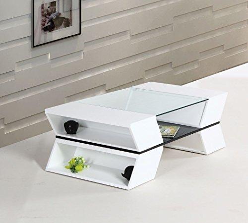 Couchtisch Dakoro 09, Farbe: Weiß Hochglanz - Abmessungen: 40 x 120 x 65 cm (H x B x T)