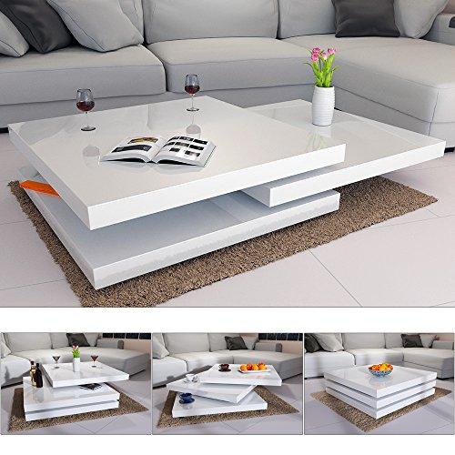 Couchtisch Wohnzimmertisch Hochglanz Beistelltisch Tisch Sofatisch Tischplatte 360° drehbar - Farbe Weiß oder Schwarz
