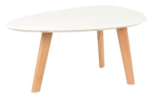 Design Beistelltisch Oval Holz Weiß MDF Kaffeetisch Couchtisch Nachttisch