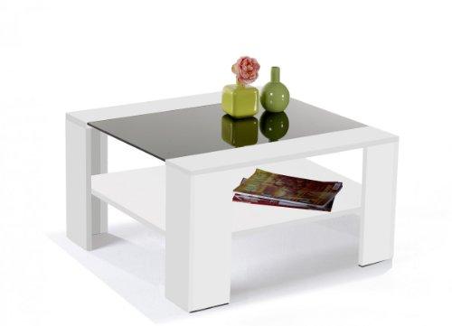 Design Couchtisch Gerrit 08 Wohnzimmertisch weiss 78 x 78 cm , mit schwarzer Glaseinlasge
