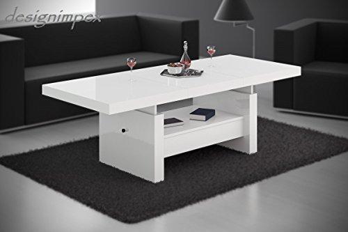 Design Couchtisch H-111 Weiß Hochglanz Schublade höhenverstellbar ausziehbar Tisch Wohnzimmertisch