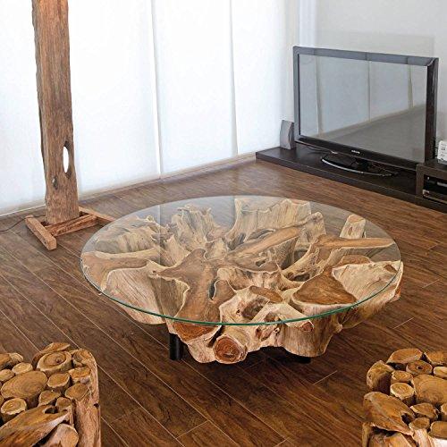 Design Wurzelholz Couchtisch Naga Glasplatte 100 cm Handarbeit massiv | Baumstamm Teak Wurzel Wohnzimmer Tisch