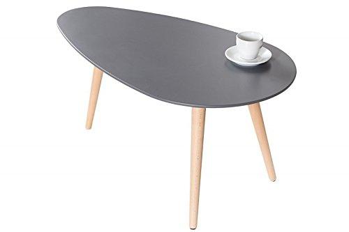 DuNord Design Couchtisch Beistelltisch STOCKHOLM graphit 75cm Retro Design Nierenform Tisch