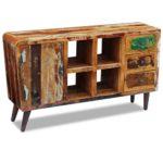Festnight Holz Sideboard Kommode Konsolentisch aus Recyceltes Massivholz mit 1 Schranktür, 4 Fächern und 3 Schubläden 150x40x86cm