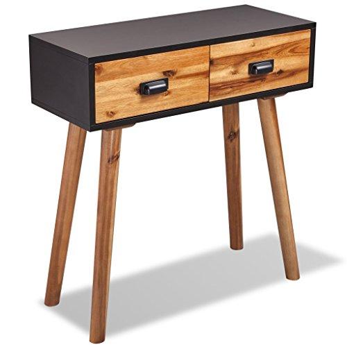Festnight Konsolentisch Beistelltisch Sideboard aus Massives Akazienholz mit 2 Schubladen 70x30x75cm für Ihr Wohnzimmer Esszimmer Flur