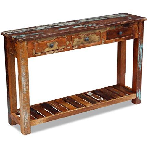 Festnight Retro-Stil Konsolentisch aus Recyceltes Massivholz als Beistelltisch Sideboard Highboard 120x30x76cm für Wohnzimmer Flur