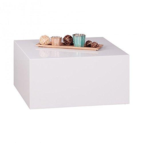 FineBuy Couchtisch MONOBLOC 60 x 60 x 30 cm Hochglanz MDF Weiß lackiert   Design Wohnzimmertisch Cube quadratisch   Lounge Beistelltisch Würfel Form