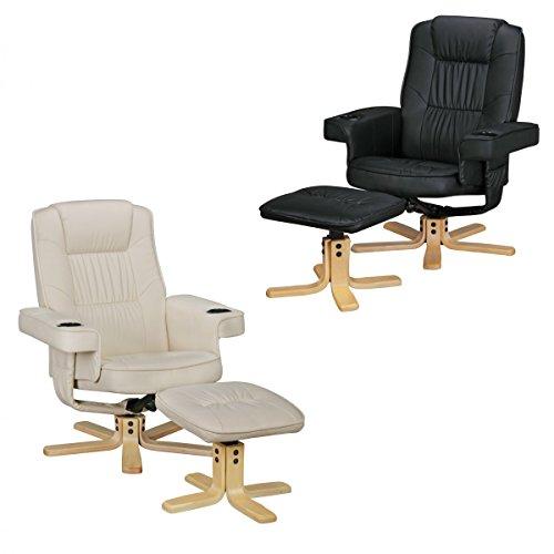 FineBuy Relax Duo Schwarz Fernsehsessel mit Getränkehalter | TV Sessel ohne Motor drehbar mit Hocker | Relaxsessel Beige…
