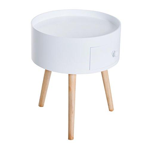 HOMCOM Beistelltisch Sofatisch Couchtisch mit Schublade Wohnzimmer Holz Weiß Ф38 x H45cm