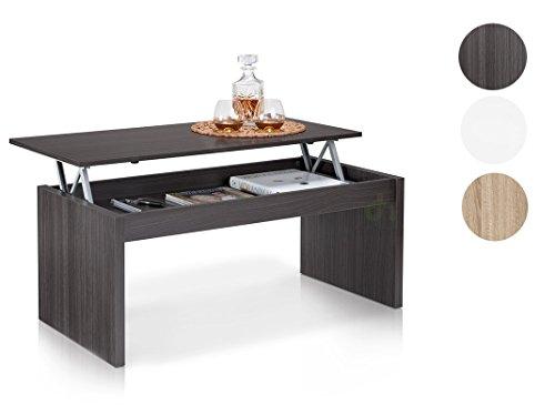 Habitdesign Couchtisch Mehrfach gewölbt, Nachttisch Möbel Wohnzimmer, Maße: 102x 50x 43/52cm Höhe
