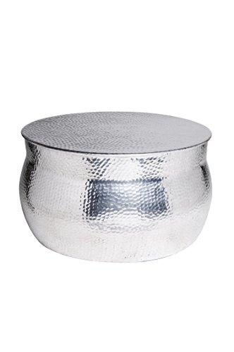 MAADES Wohnzimmertisch Couchtisch rund modern aus Metall | Marokkanischer runder Vintage Tisch aus Aluminium für Ihre Wohnzimmer | Moderner Design Sofatisch in Silber Hochglanz