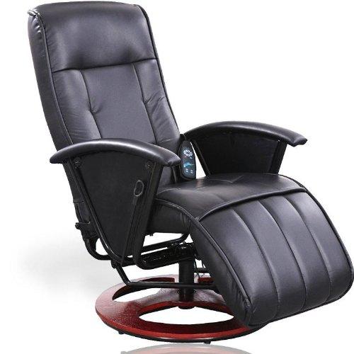 MIADOMODO Massagesessel Fernsehsessel Relaxsessel mit Heizung und Steuereinheit, schwarz