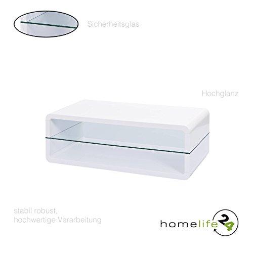 Moderner Couchtisch rechteckig mit Ablagefläche weiß Hochglanz Sicherheitsglas