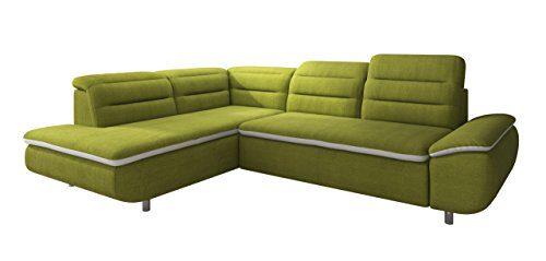 New Level Solution Polsterecke, Ottomane links, Stellmaß 208 x 278 cm, grün / weiß