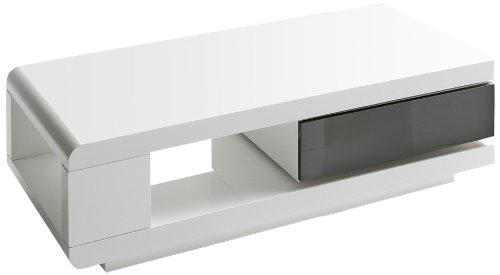Robas Lund Couchtisch Wohnzimmertisch 360 Grad drehbar Hochglanz weiß 120 x 60 x 36 cm 59031WG4