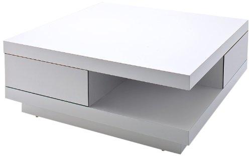 Robas Lund, Couchtisch, Wohnzimmertisch, Abby, Hochglanz/weiß, 85 x 85 x 30 cm,  58207WW4