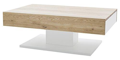 Robas Lund Couchtisch Wohnzimmertisch Lania II Matt Weiß/ Eiche Sägerau 110 x 70 x 40 cm 58751AW4