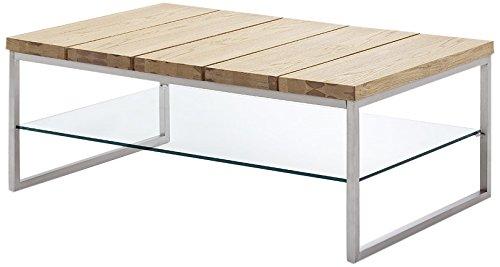 Robas Lund, Couchtisch, Wohnzimmertisch,  Norge , Asteiche/Glas/Metall in Edelstahloptik, 60 x 100 x 39 cm, 58794AZ4