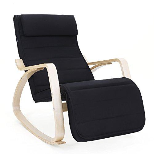 SONGMICS Schaukelstuhl Sessel Gartensessel Schwingstuhl Relaxsessel Liegestuhl Gartenstuhl schwarz LYY10B
