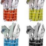 24-teiliges Besteckset Edelstahl Schwarz mit Ständer-Besteckkorb Besteck für 6 Personen Menü-besteck Color-Besteck mit Kunststoffgriffen geliefert wird in Geschenk-Dose