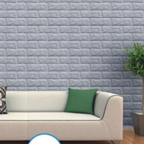 3D-Backstein-Muster-Tapete Wandaufkleber , 3D kreative DIY selbstklebende Schaumstoff PE Nachahmung Ziegelsteinmuster Tapeten, Polstersofa TV Hintergrund Arbeitszimmer Schlafzimmer Wohnzimmer Büro zu Hause Dekoration (grau)