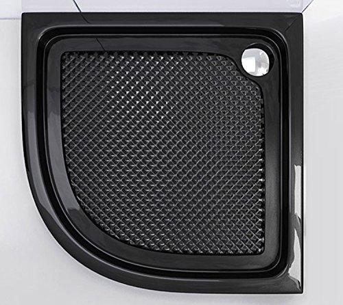 doporro Duschtasse Duschwanne Faro3BAR 80x80x6 aus Acryl in Schwarz Viertelkreis Antisch-Rutsch Profil DIN-Anschlüsse auch für bodenebene Montage geeignet