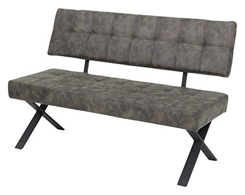 Apollo 920074 Sitzbank mit Lehne Donna I,  Softex Vintageoptik Braun  X-Metallgestell Anthrazit, 140 x 61  x 93 cm