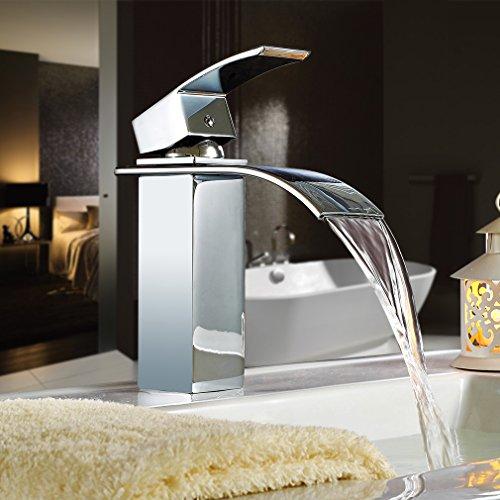 Auralum® Chrom Wasserhahn Wasserfall Waschtisch Einhebel Spültisch Armatur Badarmaturen Einhandmischer Bad